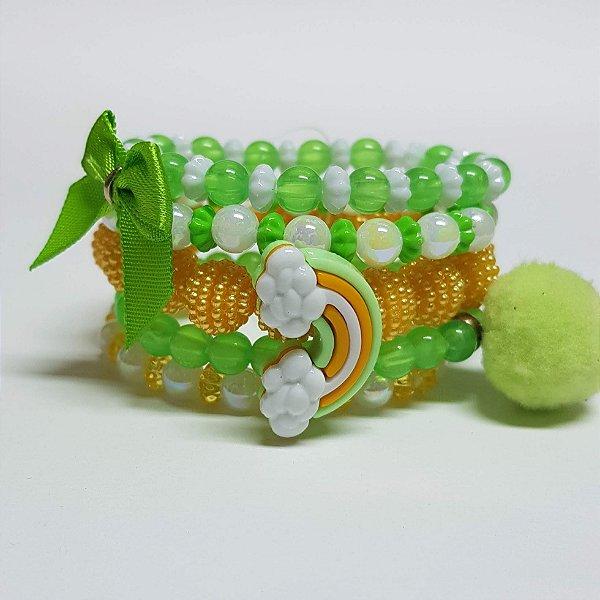 Conjunto de pulseiras de bolinhas arco iris verde