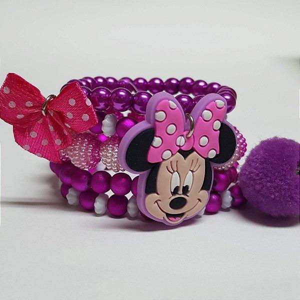Conjunto de pulseiras de bolinhas laço pink