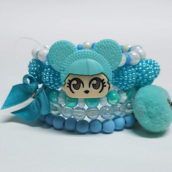 Conjunto de pulseiras de bolinhas princesa turquesa