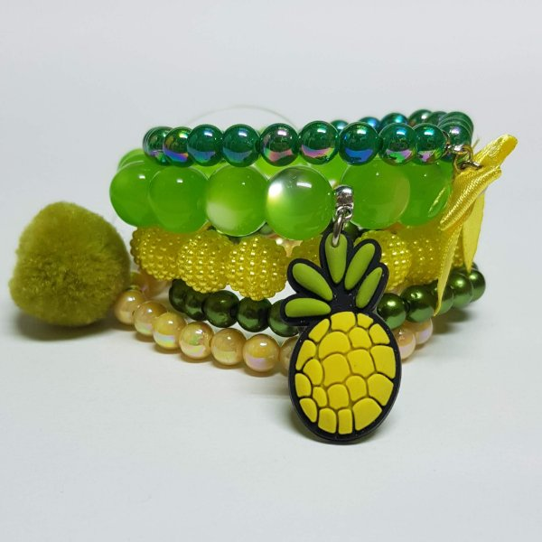 Conjunto de pulseiras de bolinhas abacaxi