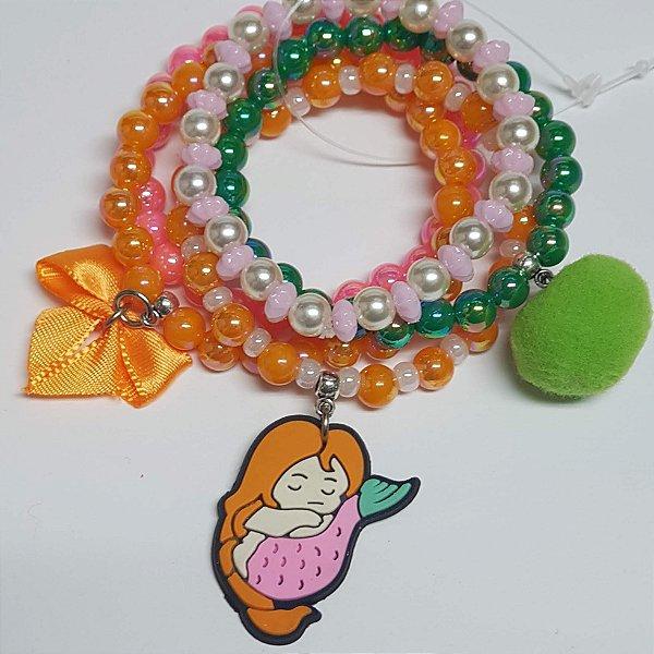 Conjunto de pulseiras de bolinhas sereia rosa