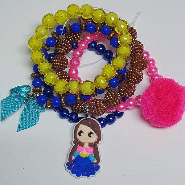 Conjunto de pulseiras de bolinhas princesa vestido azul