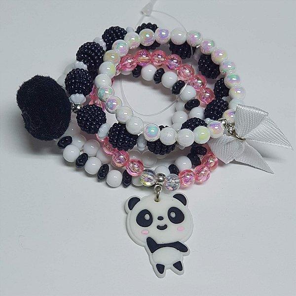 Conjunto de pulseiras de bolinhas panda