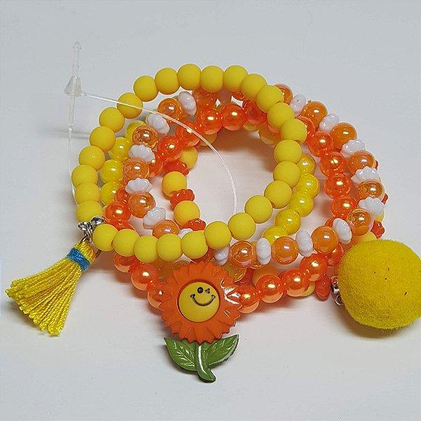 Conjunto de pulseiras de bolinhas girassol
