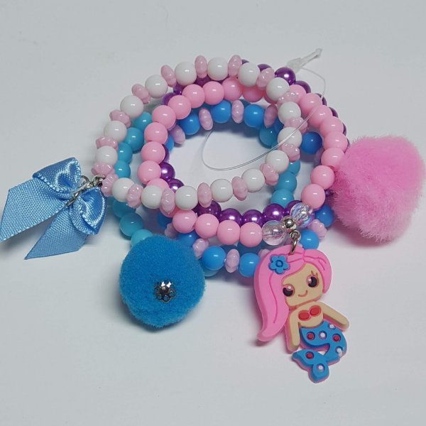 Conjunto de pulseiras de bolinhas sereia azul