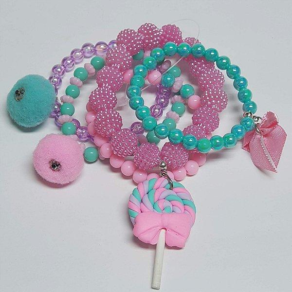 Conjunto de pulseiras de bolinhas candy