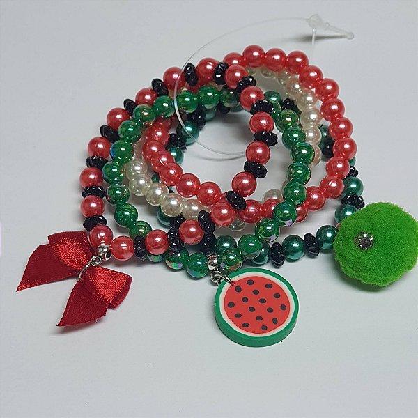 Conjunto de pulseiras de bolinhas melancia