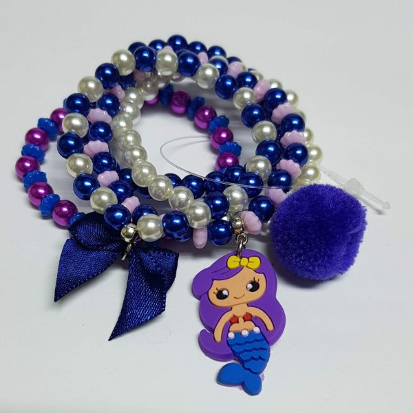 Conjunto de pulseiras de bolinhas sereia azul bic