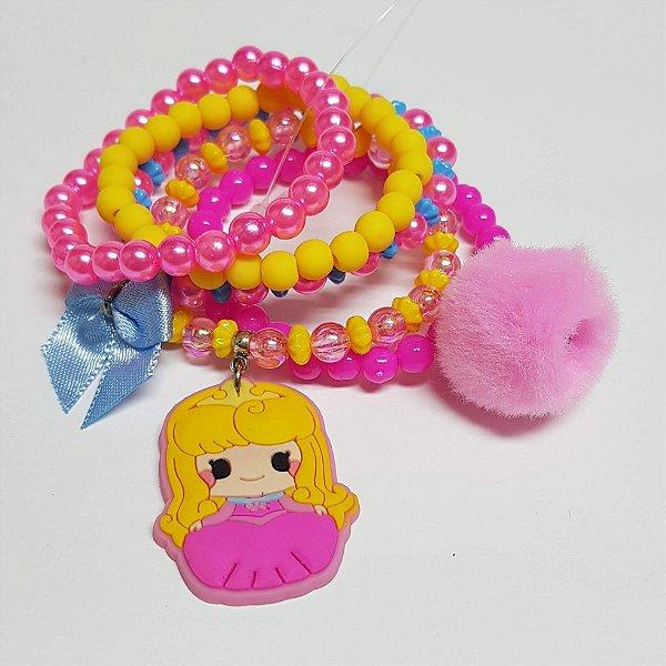 Conjunto de pulseiras de bolinhas princesa rosa