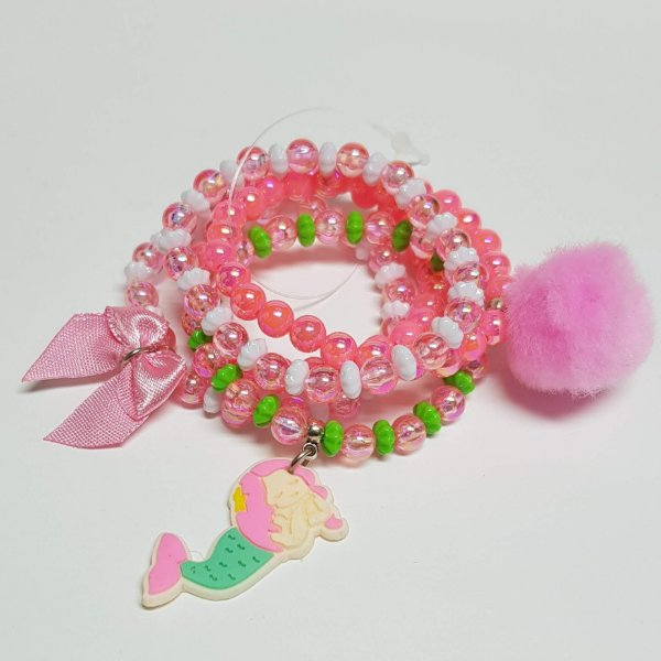 Conjunto de pulseiras de bolinhas sereia verde