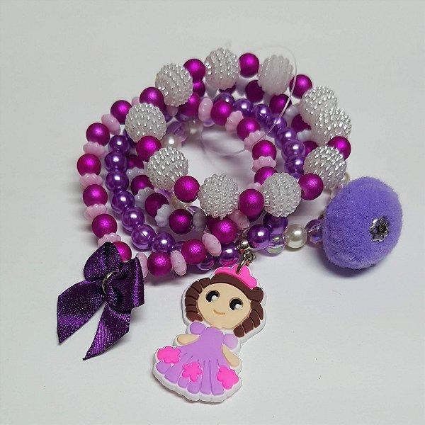 Conjunto de pulseiras de bolinhas princesa lilás
