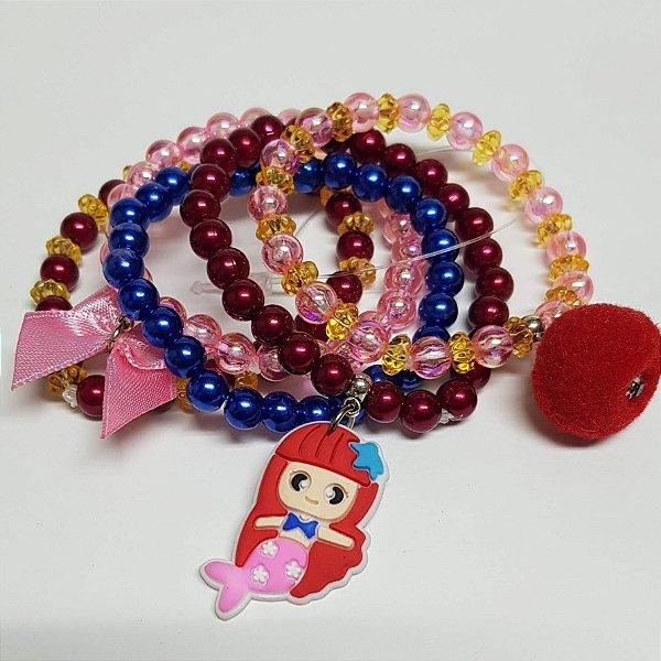 Conjunto de pulseiras de bolinhas sereia vermelha