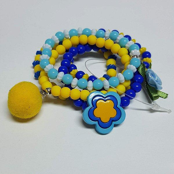 Conjunto de pulseiras de bolinhas flor azul
