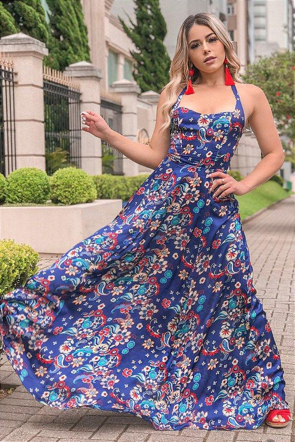 Vestido Longo Fernanda Azul