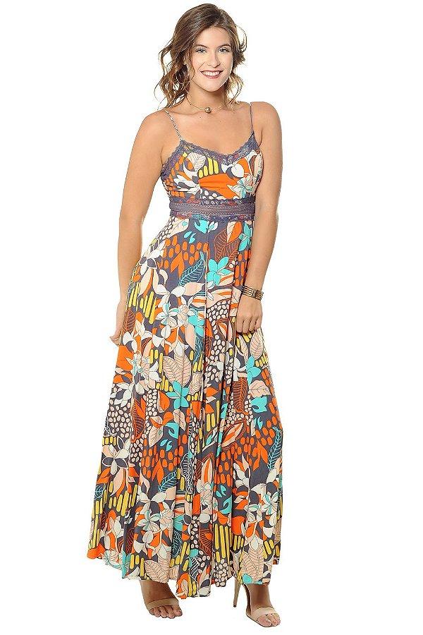 Vestido Longo Ana Cinza Flor