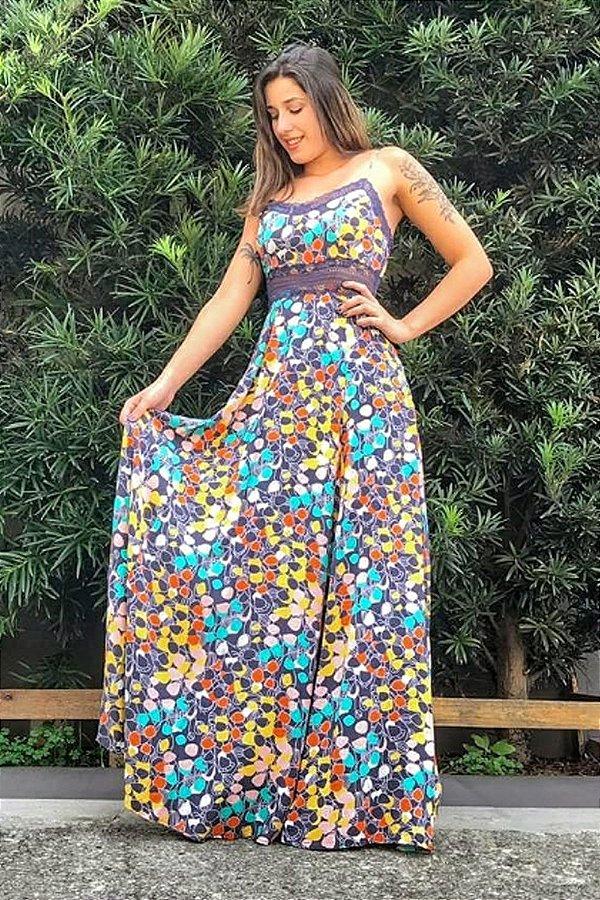 Vestido Longo Ana Cinza