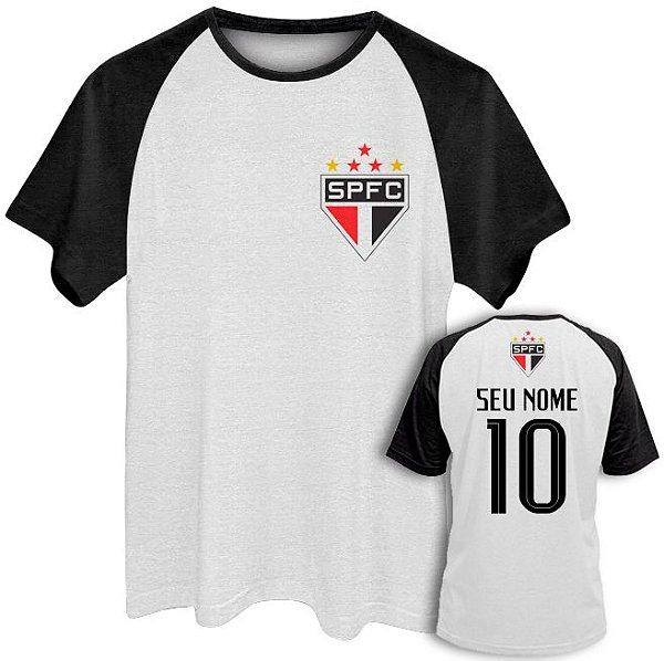 52c3ec6e8d Camiseta Raglan Masculina Time Futebol São Paulo Seu Nome ...
