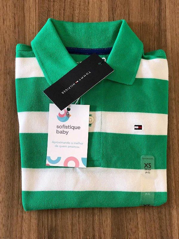 Camiseta Gola Polo Tommy Hilfiger Verde Listrada