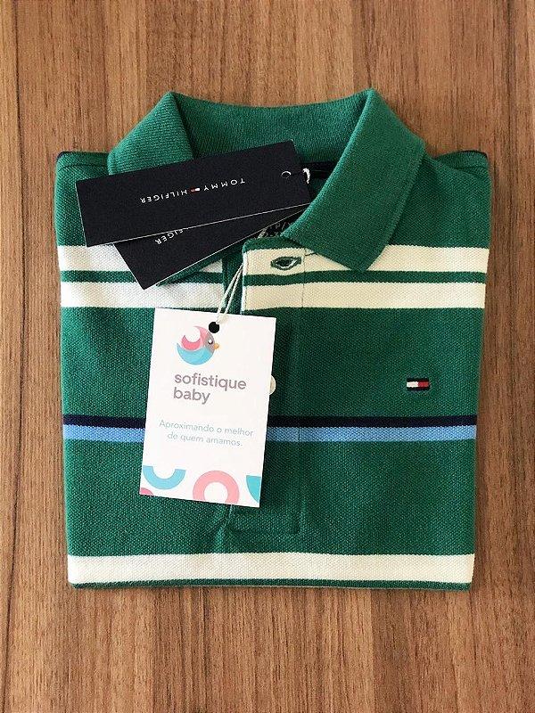Camiseta Gola Polo Tommy Hilfiger Listrada Verde
