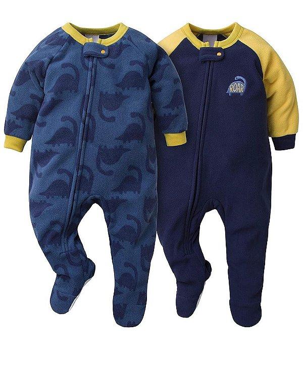 Conjunto 2 Macacões Gerber Fleece Azul Masculino
