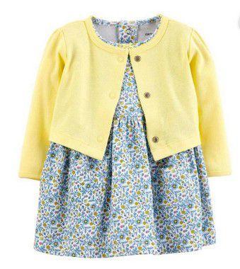 Vestido com Cardigã Amarelo