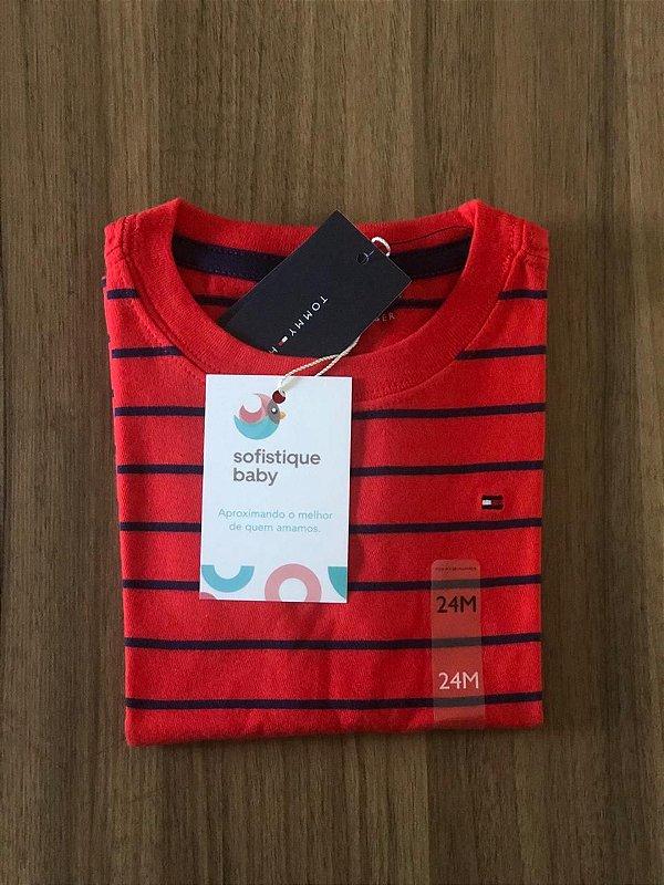 Camiseta Tommy Hilfiger Vermelha Listrada
