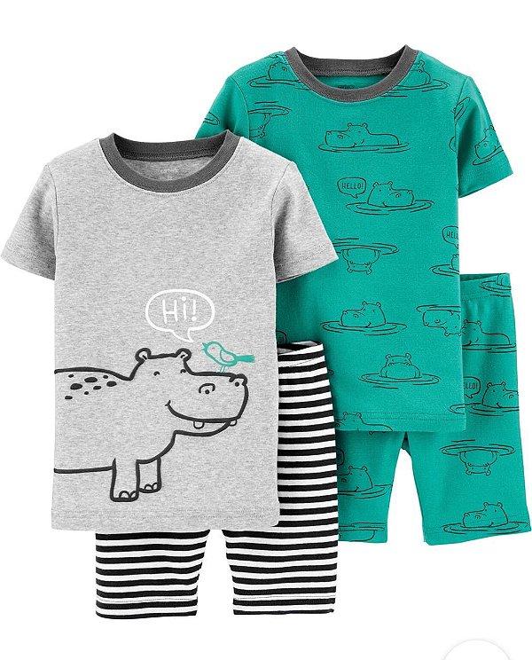 Pijama Kit 4 Peças Hipopótamo Masculino