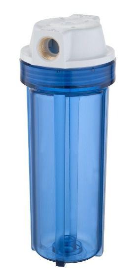"""Carcaça Transparente Azul 10"""" x 2 ½ (9 3/4"""") Entrada e Saída de 1/2"""