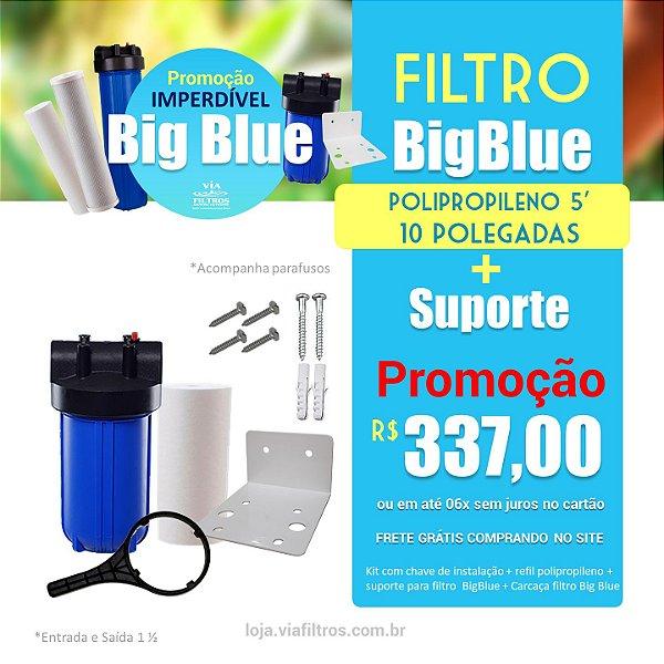 """Filtro de entrada Big Blue 10"""" polegadas Polipropileno 5 micras"""