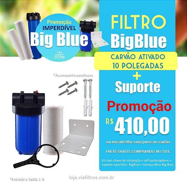 """Filtro de água de entrada Big Blue 10"""" polegadas com carvão ativado + Suporte"""