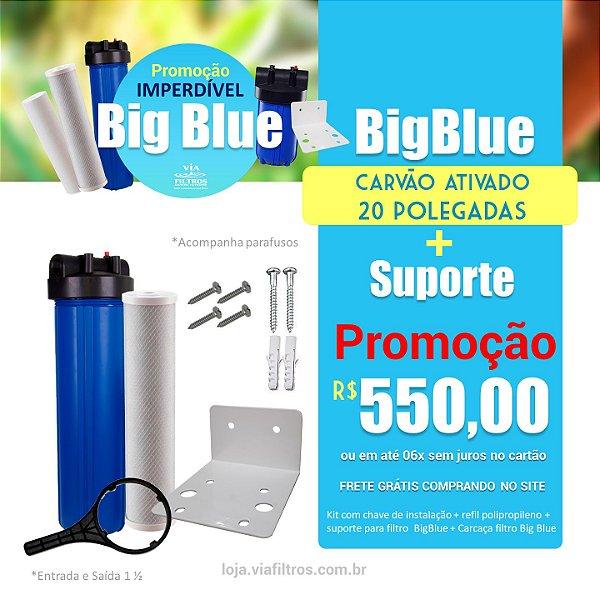 """Filtro de água de entrada Big Blue 20""""polegadas Carvão ativado + Suporte"""