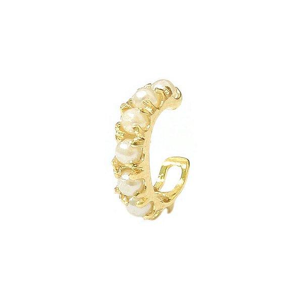 Piercing de Orelha Pérolas Dourado