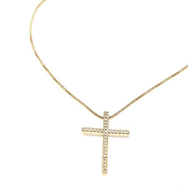 Colar Cruz Mini Dourado