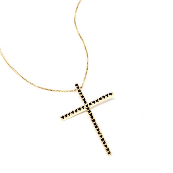 Colar Cruz Dourado Zircônia Preta