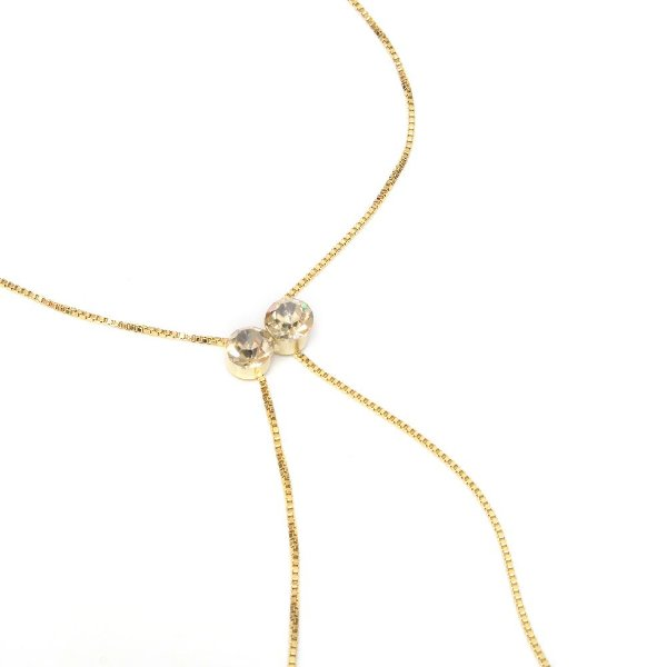 Colar Gravata Swarovski Golden Shadow Dourado
