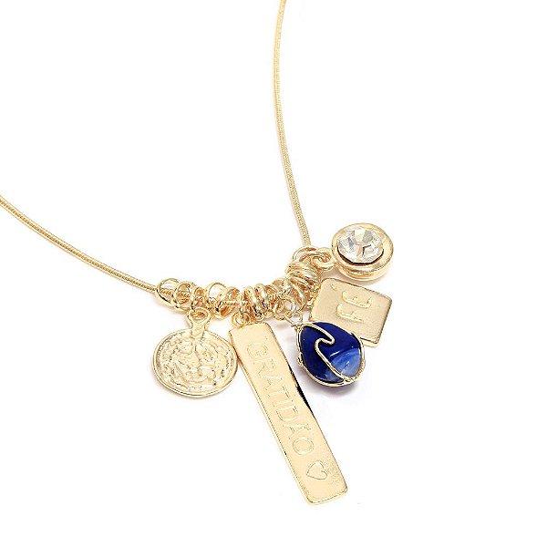 Colar Patuá Gratidão Lápis Lazuli