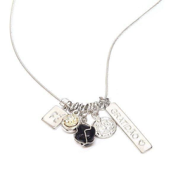 Colar Patuá Gratidão Jaspe Amuleto Ródio Branco