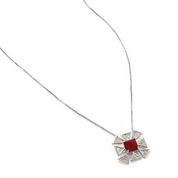 Colar Bertha Vermelho Ródio Branco