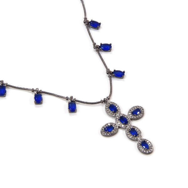 Colar Vitrali Azul Royal Ródio Negro