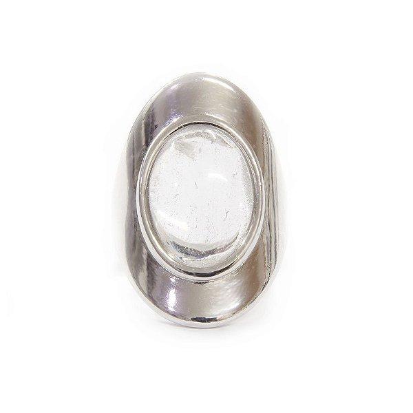 Anel Luna Cristal de Rocha Ródio Branco