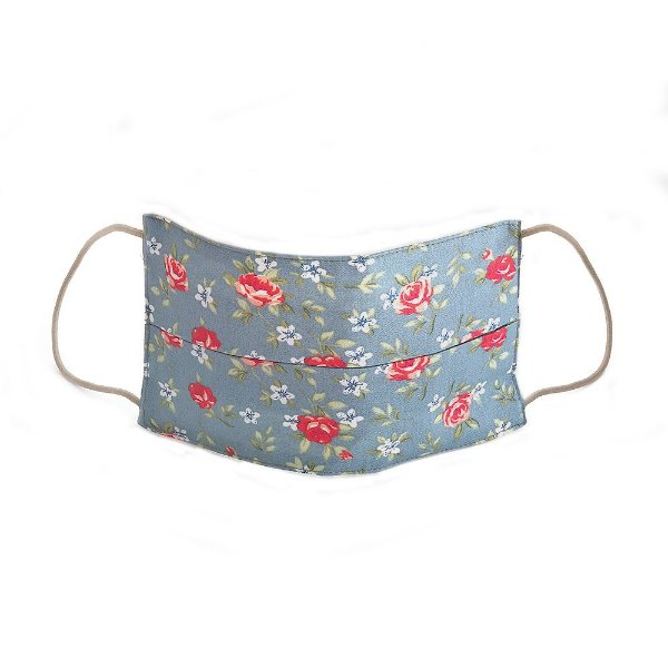 Máscara Feminina Estampada Floral Azul Jeans