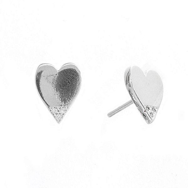 Brinco Coração Ródio Branco