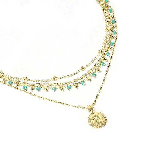 Colar Choker Nina Azul Dourado