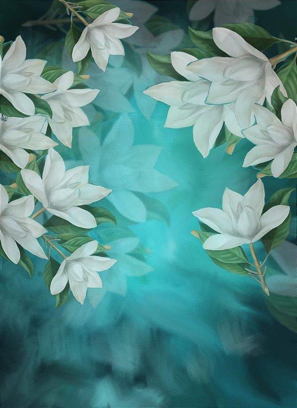 27 -  flores brancas com azul 150x220