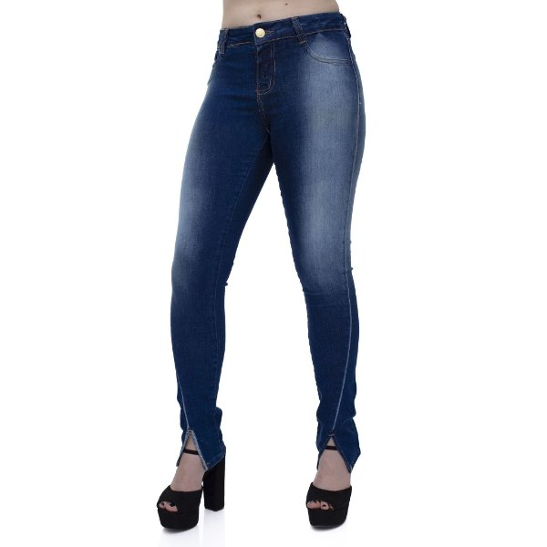 Calça Jeans Feminina Skinny Cós Médio Ref.4663