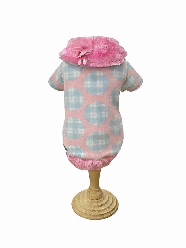 Casaco Gola Pele algodão Doce - Pink e Fanny