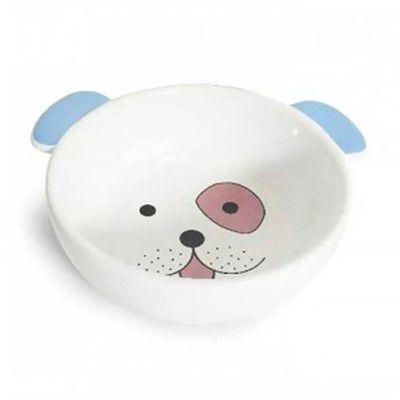 Comedouro Porcelana Face Dog Rosa / azul