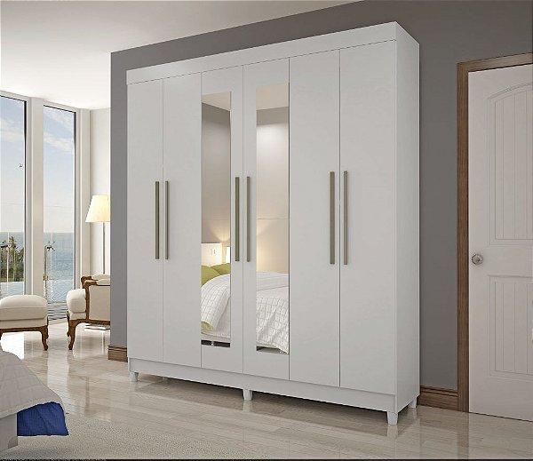 Guarda roupa casal lontras com 6 portas +espelho visão móveis