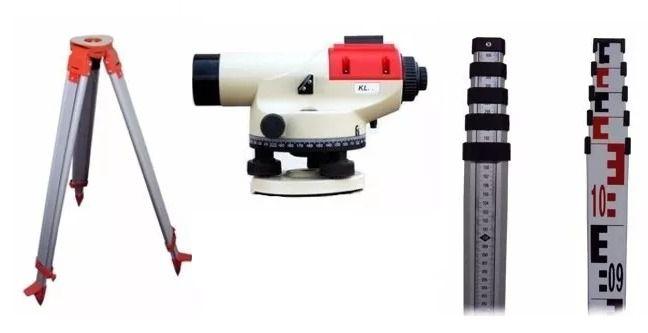 Nível Óptico Kolida Kl-26 + Tripe + Mira 5m - Topografia