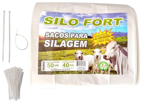 Sacos De Silagem Branco 51x110 - 200 Micras C/50 Unid C/ Abraçadeiras